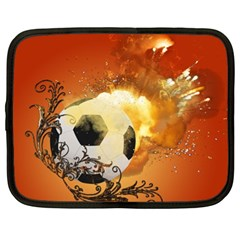 Soccer With Fire And Flame And Floral Elelements Netbook Case (XL)  by FantasyWorld7