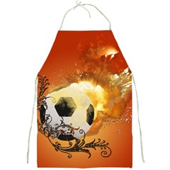 Soccer With Fire And Flame And Floral Elelements Full Print Aprons by FantasyWorld7