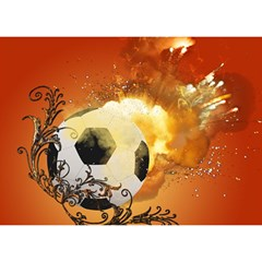 Soccer With Fire And Flame And Floral Elelements Birthday Cake 3d Greeting Card (7x5)  by FantasyWorld7