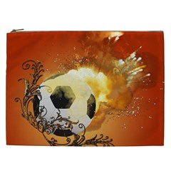 Soccer With Fire And Flame And Floral Elelements Cosmetic Bag (xxl)  by FantasyWorld7