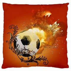 Soccer With Fire And Flame And Floral Elelements Standard Flano Cushion Cases (one Side)  by FantasyWorld7