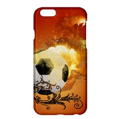 Soccer With Fire And Flame And Floral Elelements Apple Iphone 6 Plus/6s Plus Hardshell Case by FantasyWorld7