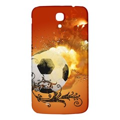 Soccer With Fire And Flame And Floral Elelements Samsung Galaxy Mega I9200 Hardshell Back Case by FantasyWorld7