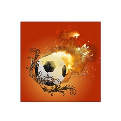 Soccer With Fire And Flame And Floral Elelements Satin Bandana Scarf by FantasyWorld7