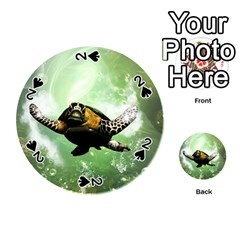 Beautiful Seaturtle With Bubbles Playing Cards 54 (round)  by FantasyWorld7