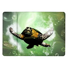 Beautiful Seaturtle With Bubbles Samsung Galaxy Tab 10 1  P7500 Flip Case by FantasyWorld7