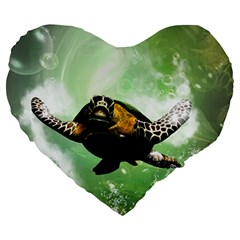 Beautiful Seaturtle With Bubbles Large 19  Premium Flano Heart Shape Cushions by FantasyWorld7