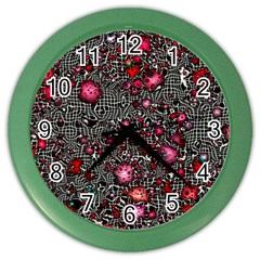 Sci Fi Fantasy Cosmos Red  Color Wall Clocks by ImpressiveMoments