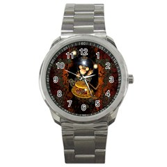 Steampunk, Funny Monkey With Clocks And Gears Sport Metal Watches by FantasyWorld7