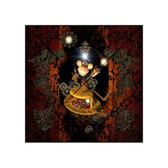 Steampunk, Funny Monkey With Clocks And Gears Acrylic Tangram Puzzle (4  X 4 ) by FantasyWorld7