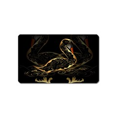 Wonderful Swan In Gold And Black With Floral Elements Magnet (name Card) by FantasyWorld7