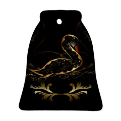 Wonderful Swan In Gold And Black With Floral Elements Bell Ornament (2 Sides) by FantasyWorld7