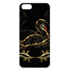 Wonderful Swan In Gold And Black With Floral Elements Apple Iphone 5 Seamless Case (white) by FantasyWorld7