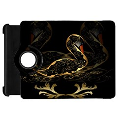 Wonderful Swan In Gold And Black With Floral Elements Kindle Fire Hd Flip 360 Case by FantasyWorld7