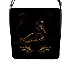 Wonderful Swan In Gold And Black With Floral Elements Flap Messenger Bag (L)  by FantasyWorld7