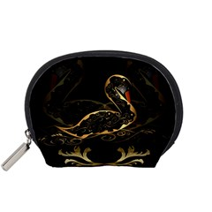 Wonderful Swan In Gold And Black With Floral Elements Accessory Pouches (small)  by FantasyWorld7