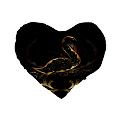 Wonderful Swan In Gold And Black With Floral Elements Standard 16  Premium Flano Heart Shape Cushions by FantasyWorld7
