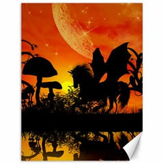 Beautiful Unicorn Silhouette In The Sunset Canvas 12  x 16   by FantasyWorld7