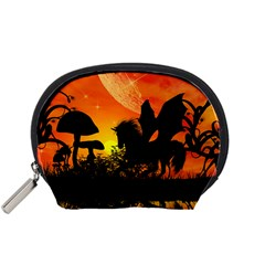 Beautiful Unicorn Silhouette In The Sunset Accessory Pouches (Small)  by FantasyWorld7