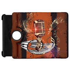 Microphone With Piano And Floral Elements Kindle Fire HD Flip 360 Case by FantasyWorld7