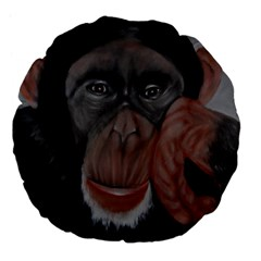 The Thinker Large 18  Premium Flano Round Cushions by timelessartoncanvas