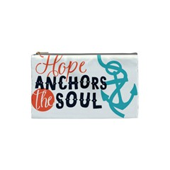 Hope Anchors The Soul Nautical Quote Cosmetic Bag (small)  by CraftyLittleNodes