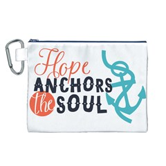 Hope Anchors The Soul Nautical Quote Canvas Cosmetic Bag (l) by CraftyLittleNodes