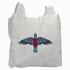 Stained Glass Bird Illustration  Recycle Bag (Two Side)  by carocollins