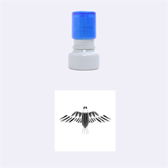Stained Glass Bird Illustration  Rubber Round Stamps (small) by carocollins