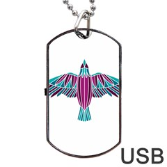 Stained Glass Bird Illustration  Dog Tag Usb Flash (two Sides)  by carocollins