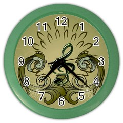 Decorative Clef With Damask In Soft Green Color Wall Clocks by FantasyWorld7