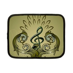 Decorative Clef With Damask In Soft Green Netbook Case (small)  by FantasyWorld7