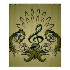 Decorative Clef With Damask In Soft Green Shower Curtain 60  X 72  (medium)  by FantasyWorld7