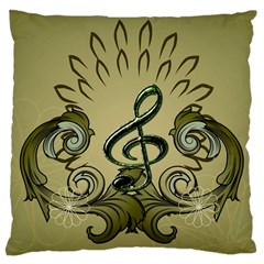 Decorative Clef With Damask In Soft Green Large Cushion Cases (one Side)  by FantasyWorld7