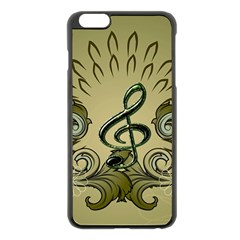 Decorative Clef With Damask In Soft Green Apple iPhone 6 Plus/6S Plus Black Enamel Case by FantasyWorld7