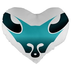 Fox Logo Blue Gradient Large 19  Premium Flano Heart Shape Cushions by carocollins