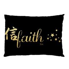 Faith (xin) Gold Pillow Case by walala
