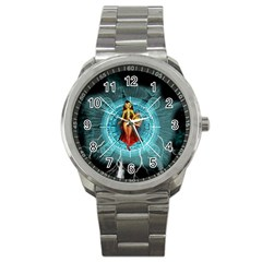 Beautiful Witch With Magical Background Sport Metal Watches by FantasyWorld7