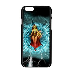 Beautiful Witch With Magical Background Apple Iphone 6/6s Black Enamel Case by FantasyWorld7