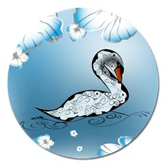 Wonderful Swan Made Of Floral Elements Magnet 5  (round) by FantasyWorld7