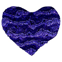 Alien Skin Blue Large 19  Premium Flano Heart Shape Cushions by ImpressiveMoments