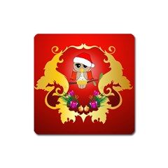Funny, Cute Christmas Owl  With Christmas Hat Square Magnet by FantasyWorld7