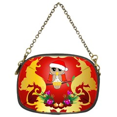 Funny, Cute Christmas Owl  With Christmas Hat Chain Purses (two Sides)  by FantasyWorld7