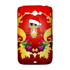 Funny, Cute Christmas Owl  With Christmas Hat HTC ChaCha / HTC Status Hardshell Case  by FantasyWorld7