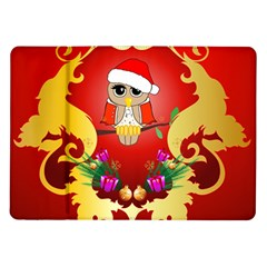 Funny, Cute Christmas Owl  With Christmas Hat Samsung Galaxy Tab 10.1  P7500 Flip Case by FantasyWorld7