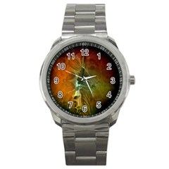 Beautiful Abstract Floral Design Sport Metal Watches by FantasyWorld7