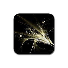 Awesome Glowing Lines With Beautiful Butterflies On Black Background Rubber Coaster (square)  by FantasyWorld7