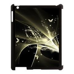 Awesome Glowing Lines With Beautiful Butterflies On Black Background Apple Ipad 3/4 Case (black) by FantasyWorld7