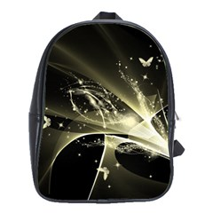 Awesome Glowing Lines With Beautiful Butterflies On Black Background School Bags (xl)  by FantasyWorld7