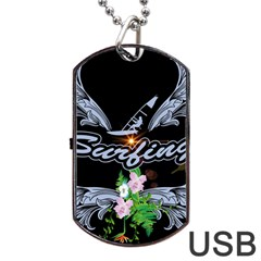 Surfboarder With Damask In Blue On Black Bakcground Dog Tag Usb Flash (one Side) by FantasyWorld7